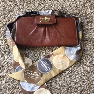 Brand New Coach wallet with Coach scarf